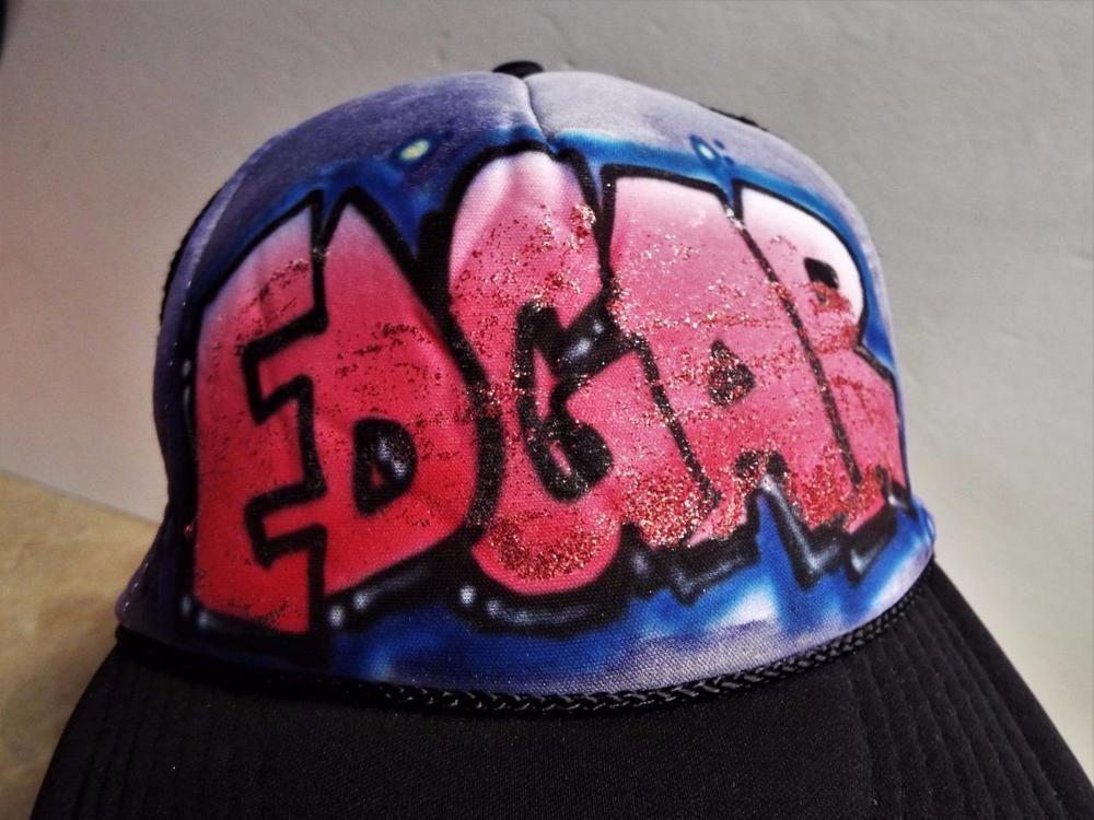 Graffiti Edgar Name Novelty Hat Black Mesh Snap Back Cap Truckers