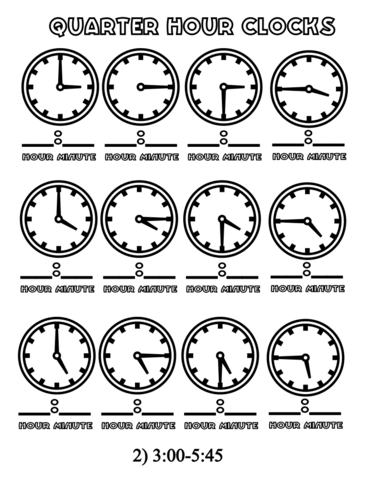 Quarter Hours Clocks 3 00 5 45 Coloring Page From Telling Time Worksheets Category Select From 26204 Printable Crafts Of Clock Worksheets Clock Coloring Pages