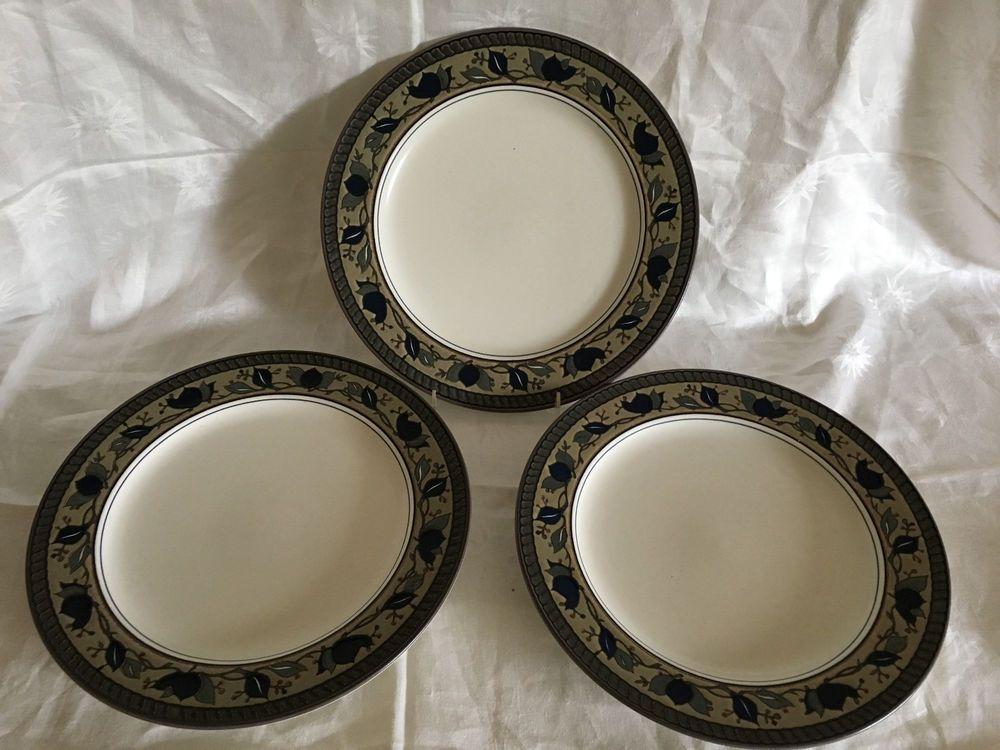 Three (3) Mikasa Intaglio Arabella Dinner Plates EUC MW/DW Safe CAC01