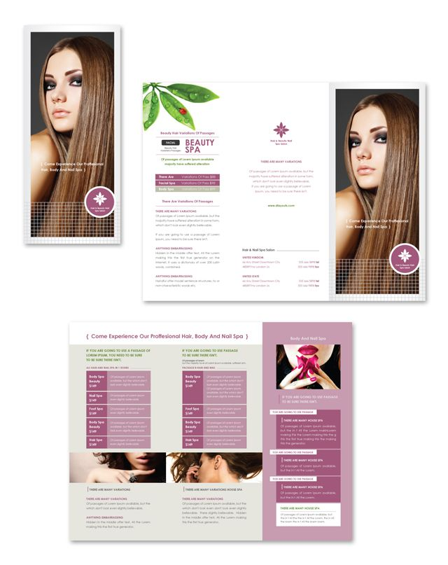 Hair  Nail Spa Salon Tri Fold Brochure Template  Tri Fold