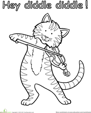 hey diddle diddle kindergarten animals worksheets the cat and the fiddle coloring page
