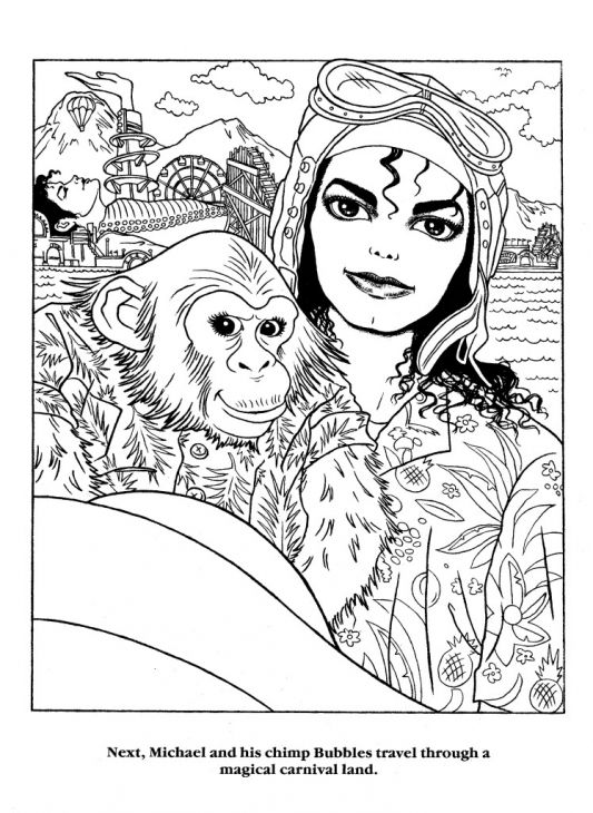 michael jackson holding a chimpanzee coloring page