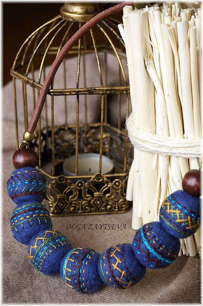 Колье, бусы ручной работы. Ярмарка Мастеров - ручная работа Этно-бусы на кожаном шнуре. Handmade.