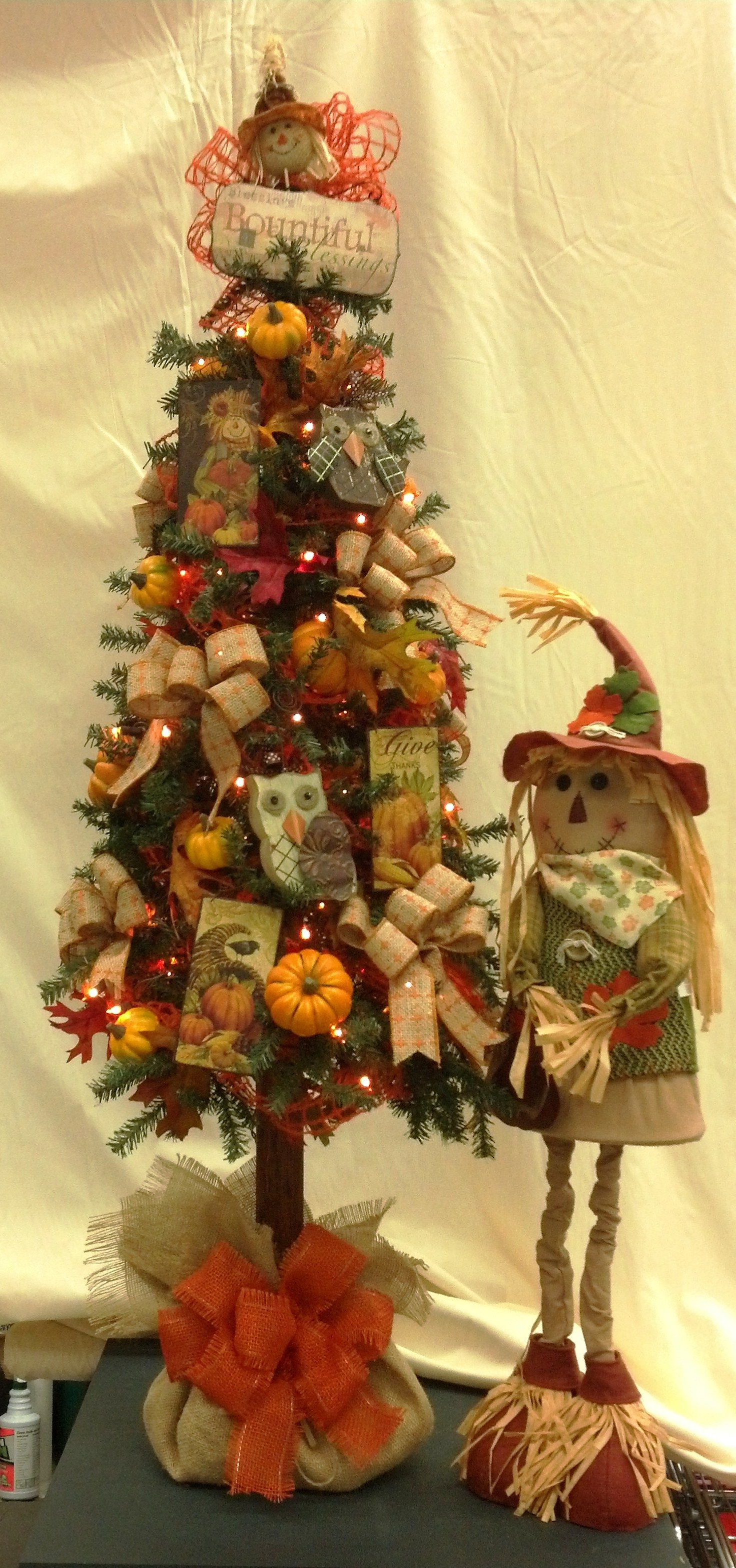 Uncategorized Fall Tree Decorations fall tree decorated with owls scarecrows and burlap unique way to go bring