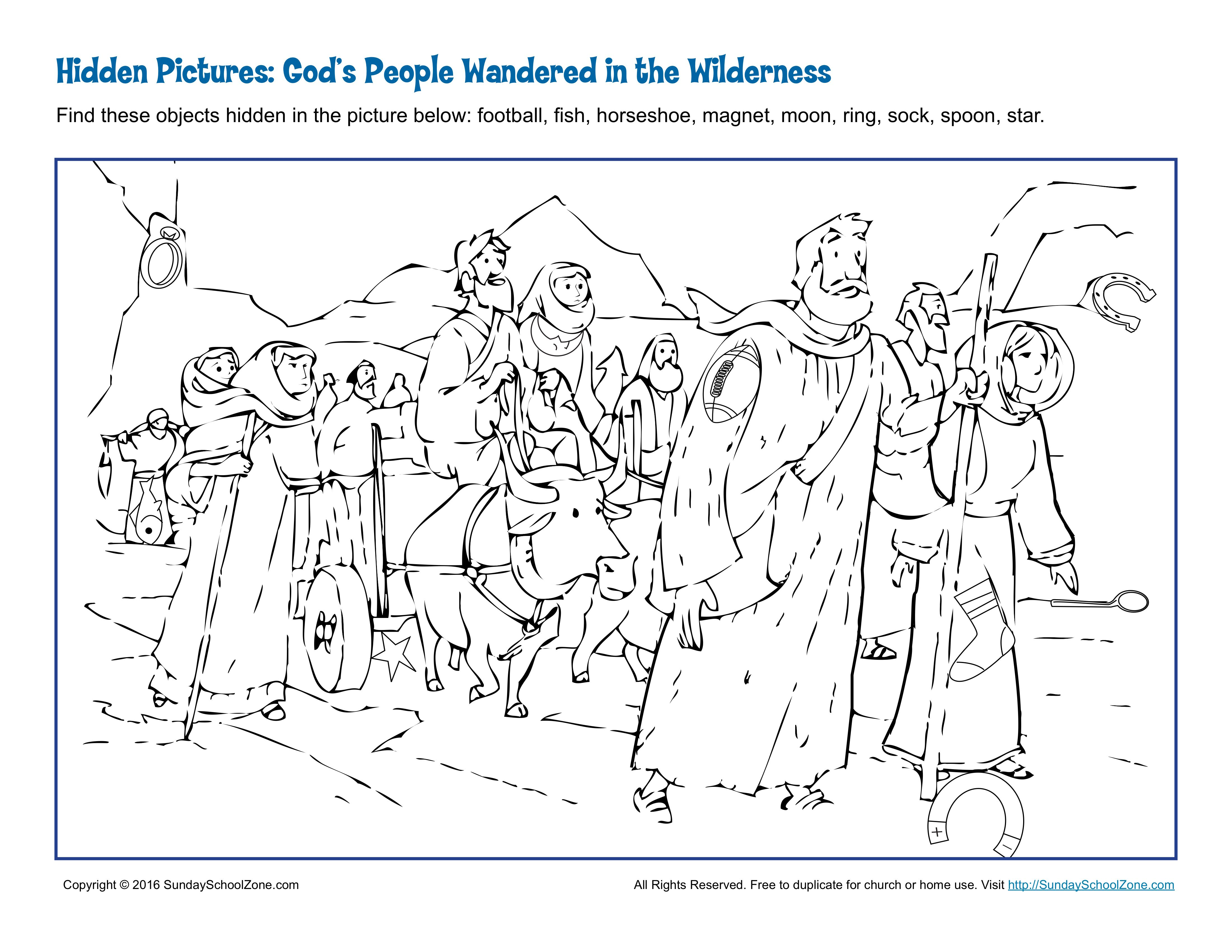 God S People Wandered In The Wilderness Hidden Pictures Bible