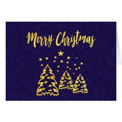 Merry Christmas winter forest blue glitter gold Card - Xmas