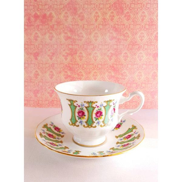 5 Vintage Teacups Royal Kent Teacups And Saucers English China China... ($54) ❤ liked on Polyvore featuring home, kitchen & dining, drinkware, floral tea cups, english teacups, vintage tea cups, vintage english tea cups and english tea cups