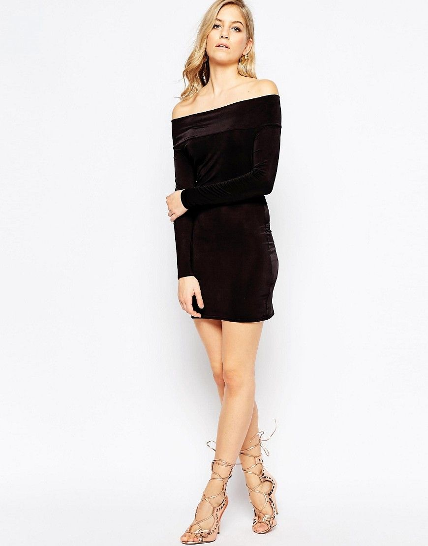 Black off shoulder long sleeve bodycon party dress long sleeve