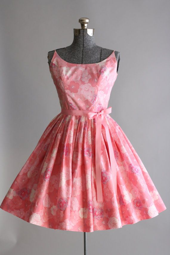 Vintage 1950s Dress/ 50s Cotton Dress / Pink Floral Sun Dress w ...