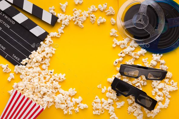 Clapperboard 3d Glasses And Popcorn On Yellow Background Yellow Background Movie Popcorn Movie Themed Party