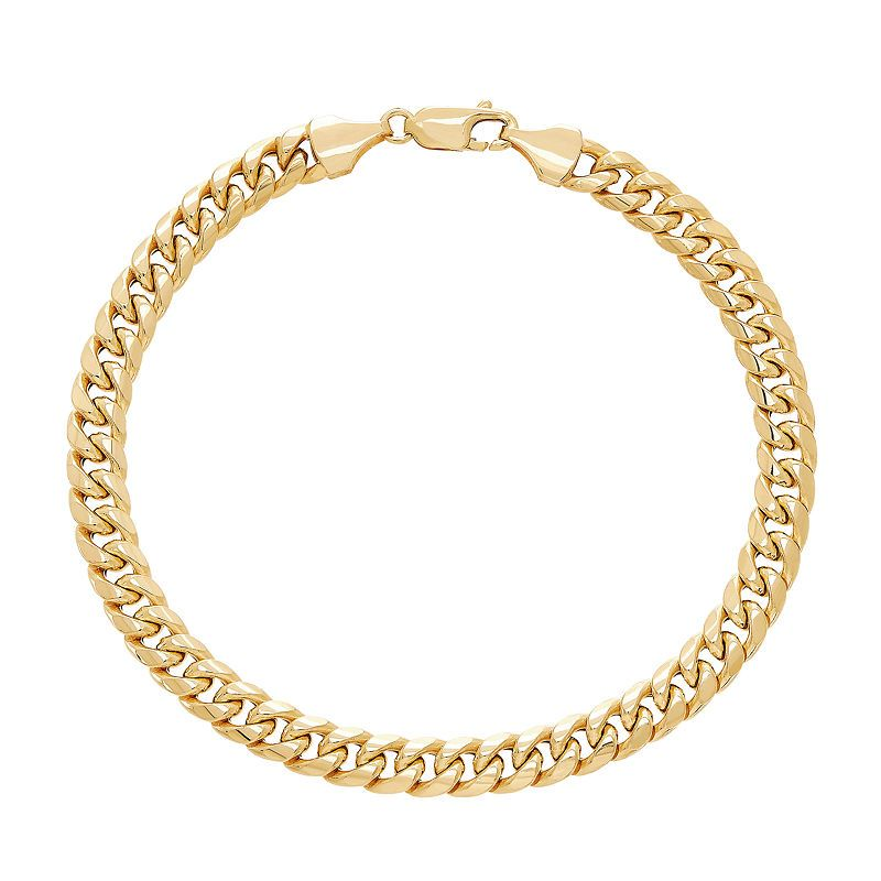 Made In Italy 10k Gold 8 1 2 Inch Hollow Curb Chain Bracelet 10k Gold Chain Chain Bracelets