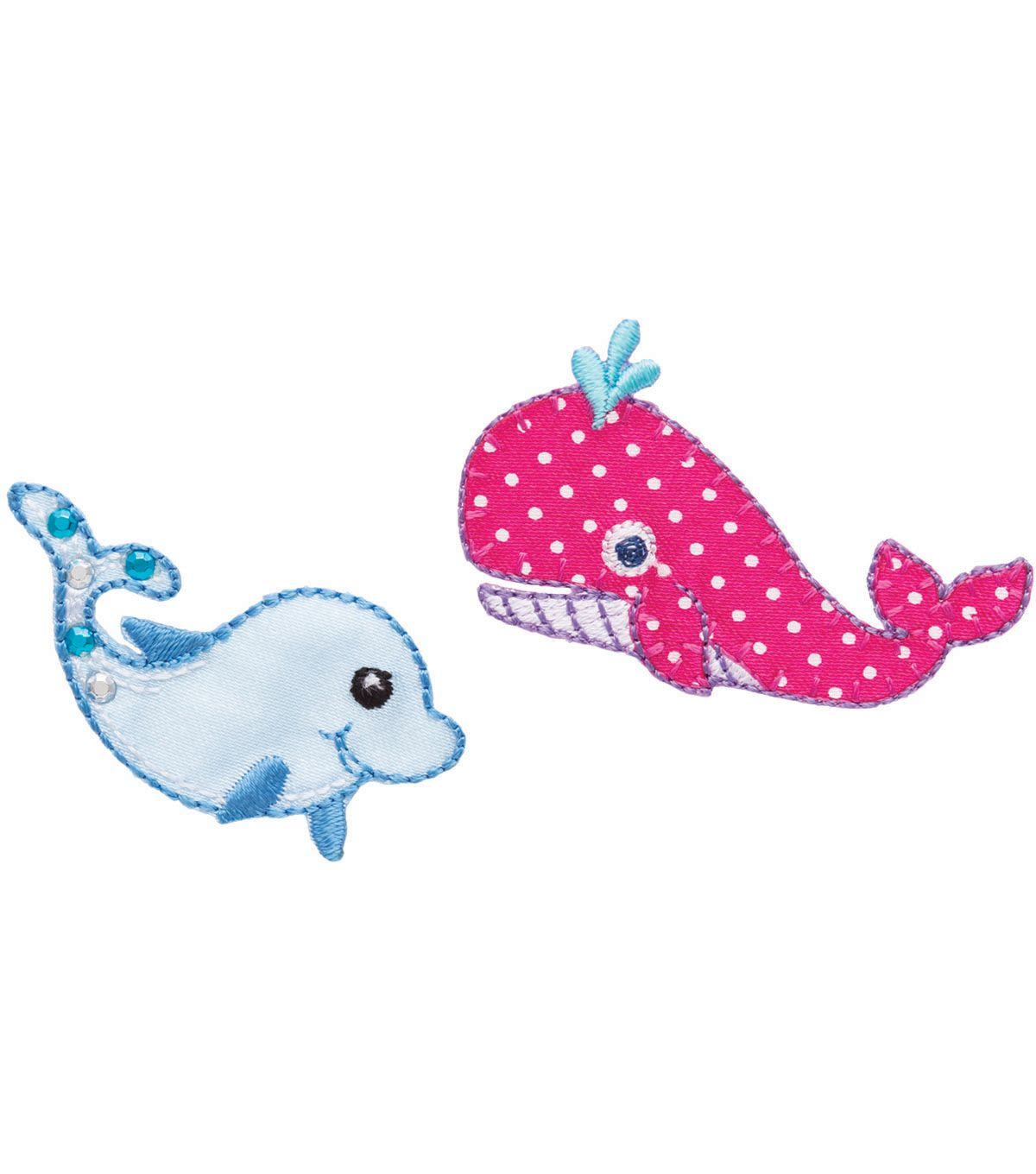 """Whale&Dolphin Iron On Applique2""""X11/4"""" 2/Pkg (With"""