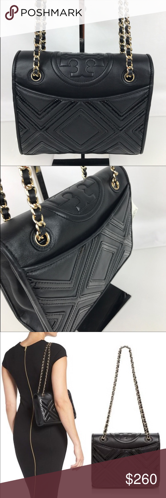 94baf6adf039 Authentic Tory Burch Fleming medium size Gorgeous Tory Burch medium  shoulder bag in geometric-quilted