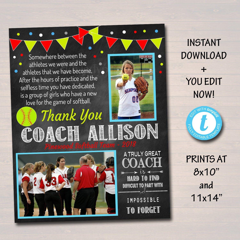 Editable Softball Coach T Coach Award Softball Team