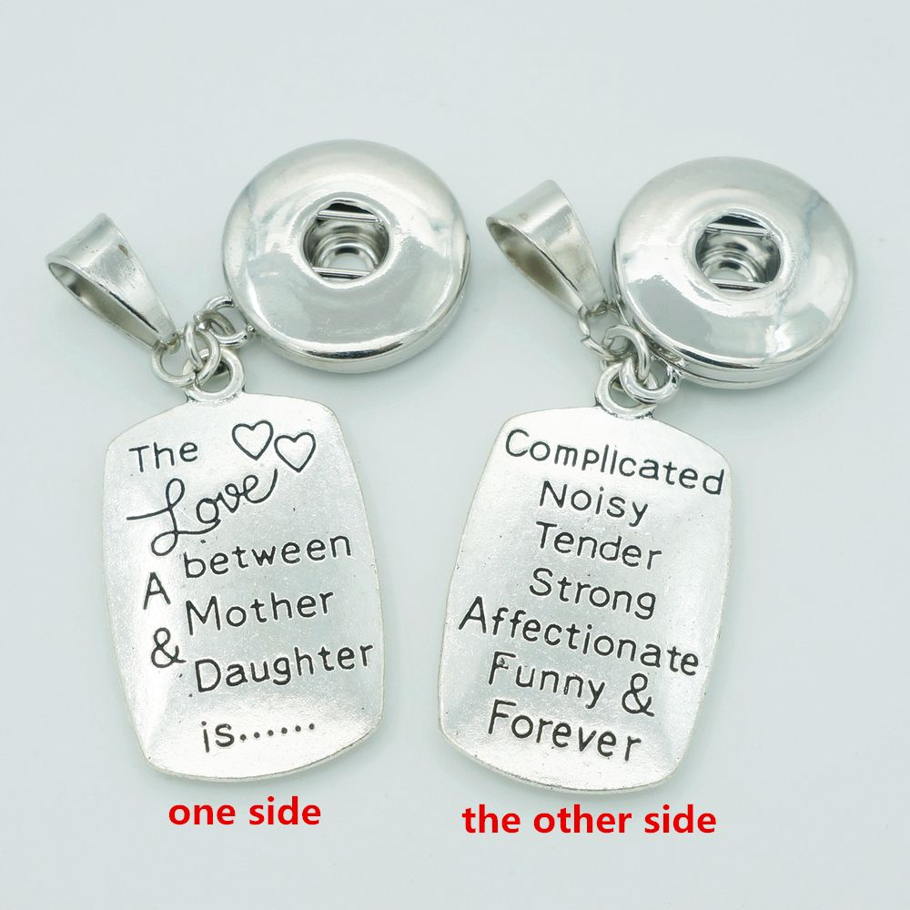 """>> Click to Buy << New """"The love between mother&daughter"""" Words snap Pendant Necklace fit 18mm snap buttons DIY Fittings for necklace XL5057 #Affiliate"""