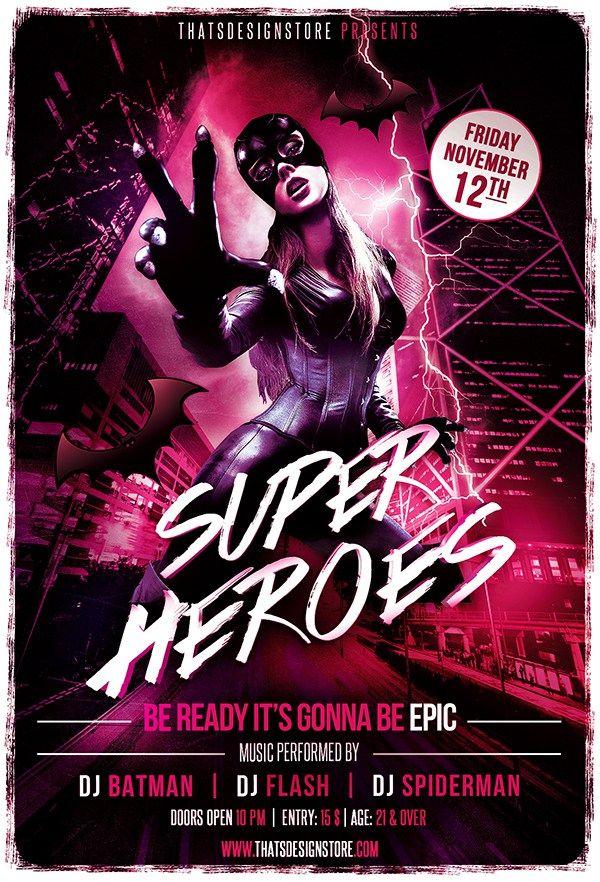 Superheroes Flyer Template  Flyer Templates    Flyer