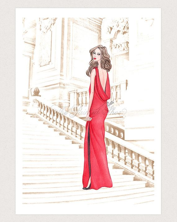 Fashion illustration print, Fashion art, watercolor - Lady in Red