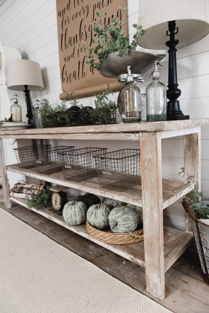 Diy farmhouse style buffet dining room buffet entryway for Building a farmhouse