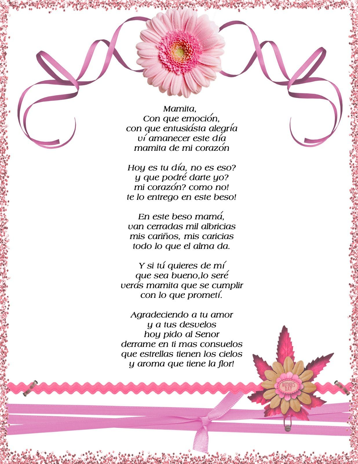 Tarjeta Y Flor Para El Dia De Las Madres Con Imagenes Poemas