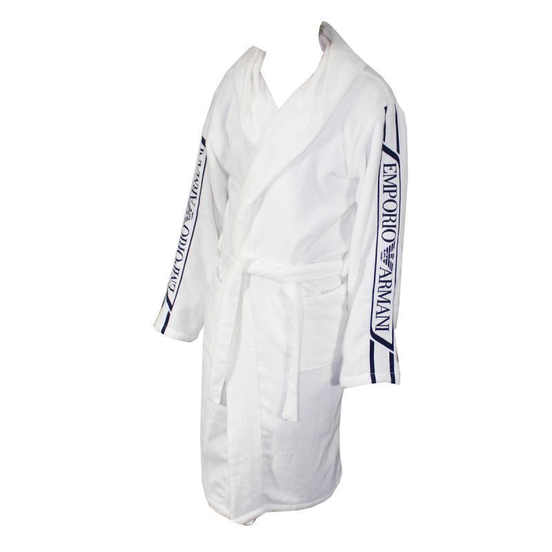 EMPORIO ARMANI BATHROBE WHITE HOODED TOWEL BADJAS BLAUW JACQUARD ...