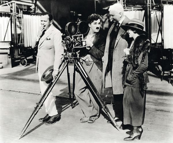 An interesting picture, to be sure. From left to right: Douglas Fairbanks Sr., Charlie Chaplin, Thomas Edison, and Mary Pickford.