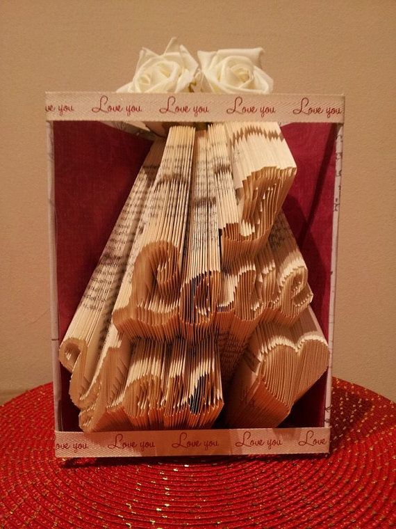 Book folding pattern for i love you with heart - Geschenke buchen ...