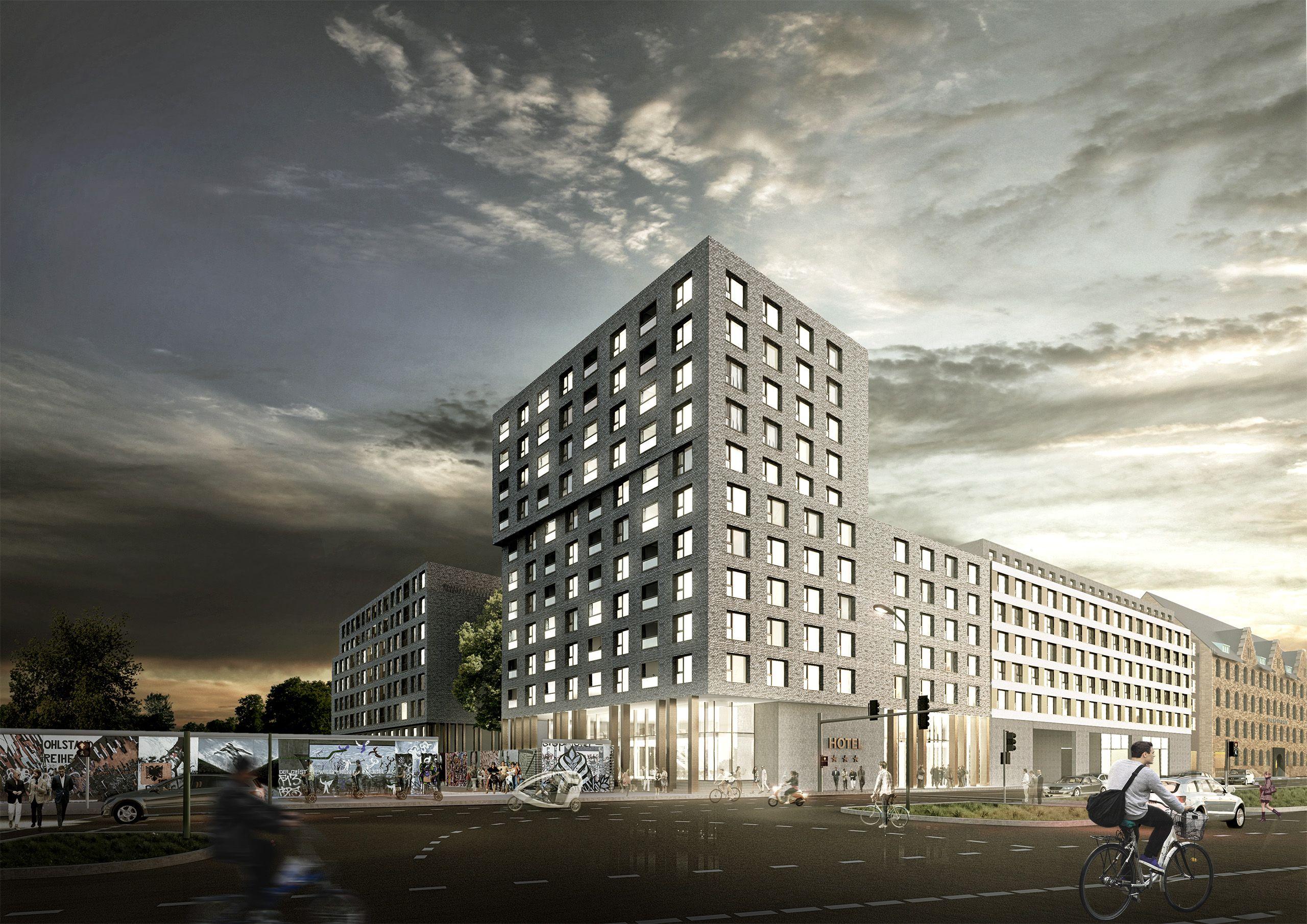 Architekturvisualisierung Berlin wettbewerb berlin yaam hotel mixed use stralauerplatz