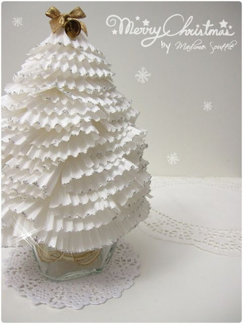 DIY Lovely Ruffled Christmas Tree From Cupcake Paper! Recycle