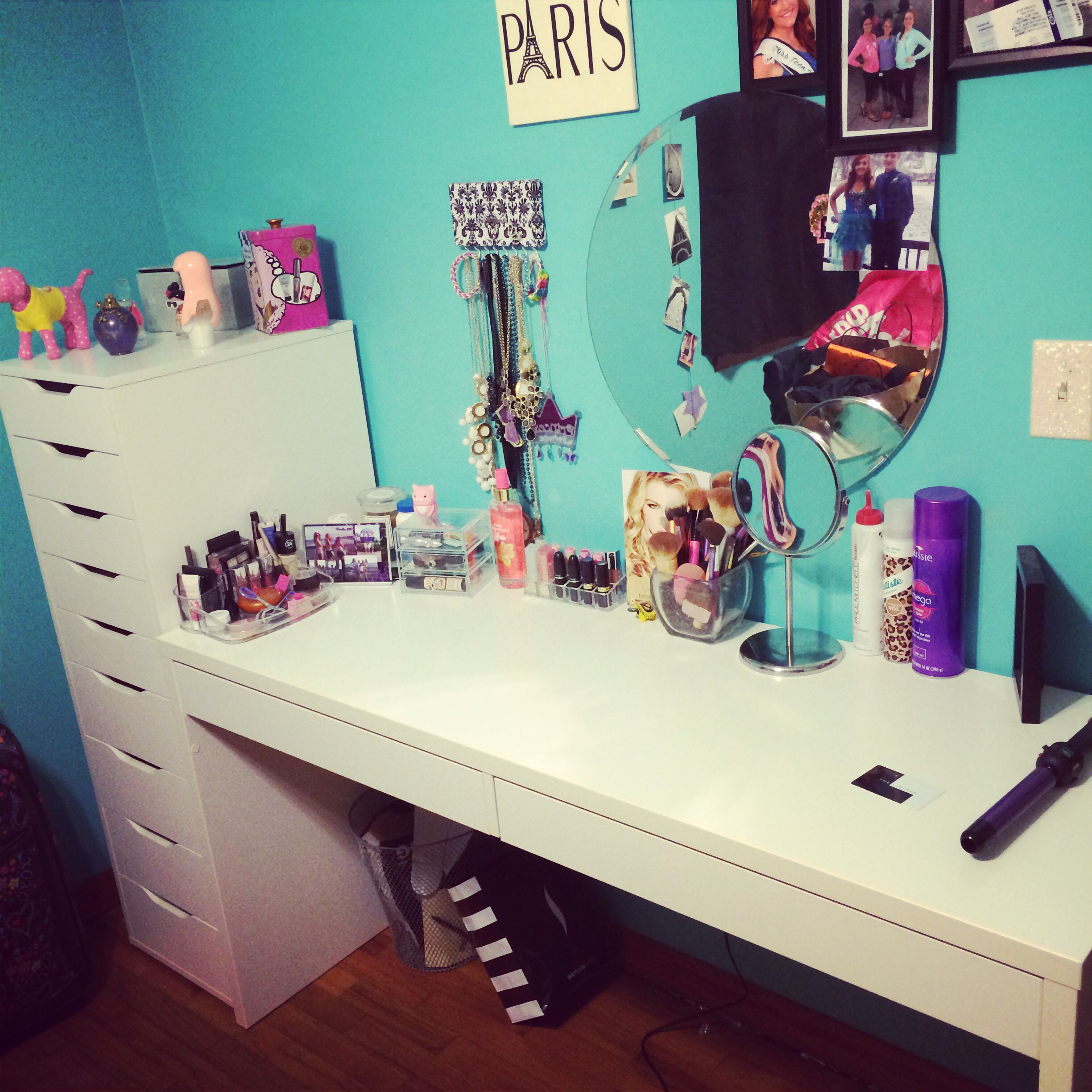 DIY Vanity I used the Alex 9 drawers from Ikea as well as the