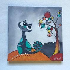 tableau chat color peinture acrylique chats pinterest colorant peinture peinture. Black Bedroom Furniture Sets. Home Design Ideas