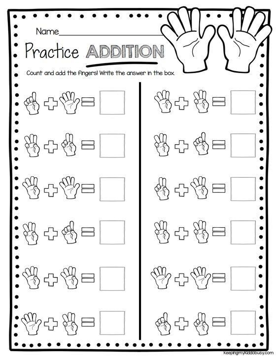Pin On Kinder Free easy addition worksheets with