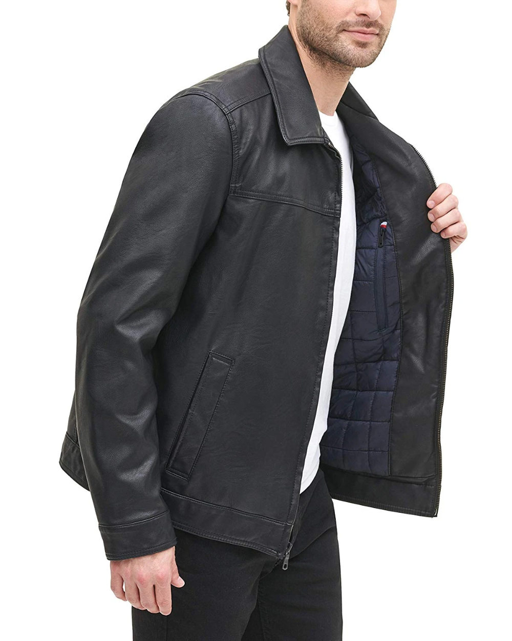 Tommy Hilfiger mens Classic Faux Leather Jacket Faux-Leather Jacket