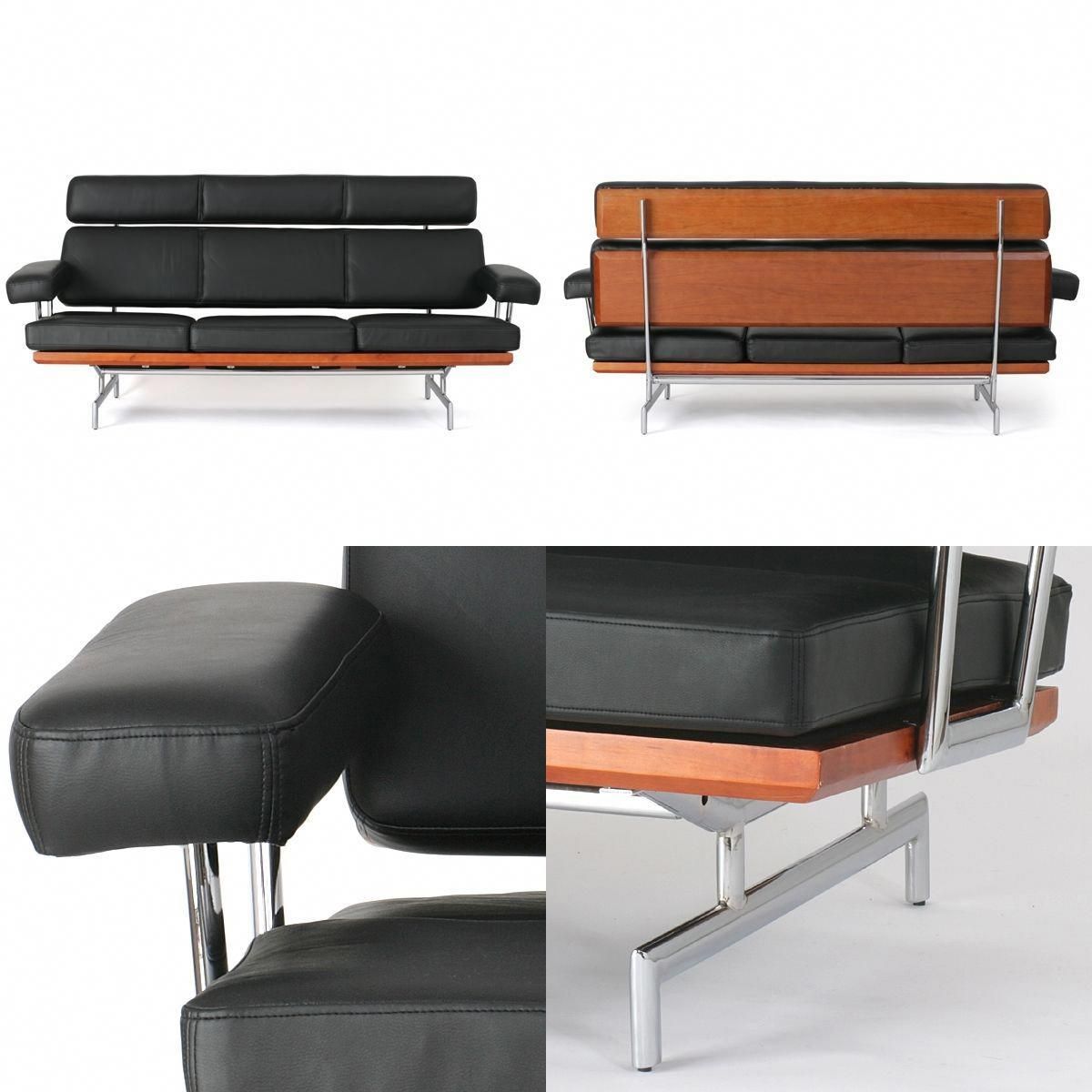 Superb Fake Eames 3 Seat Black Leather Sofa Ebay A Few Black Squirreltailoven Fun Painted Chair Ideas Images Squirreltailovenorg