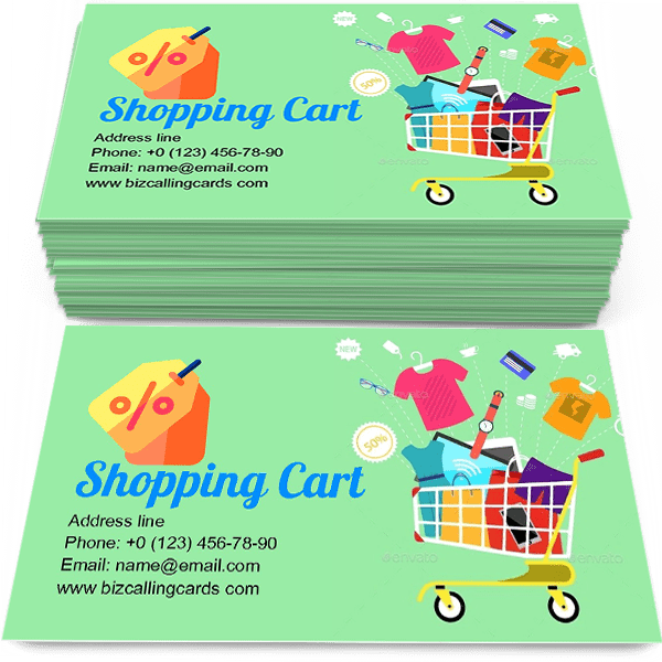Shopping Cart With Goods Business Card Template Start Today Create A Calling Card Sh Cool Business Cards Business Card Template Best Visiting Card Designs