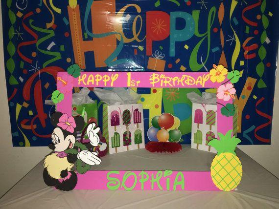 Minnie Mouse Luau Hawaiian Party Photo Booth Frame