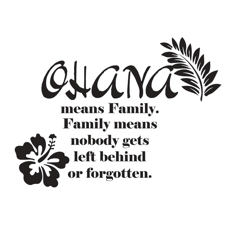 "Ohana Means Family Quote Tattoo: Adesivi Da Parete Stitch ""Ohana Means Family. Family Means"