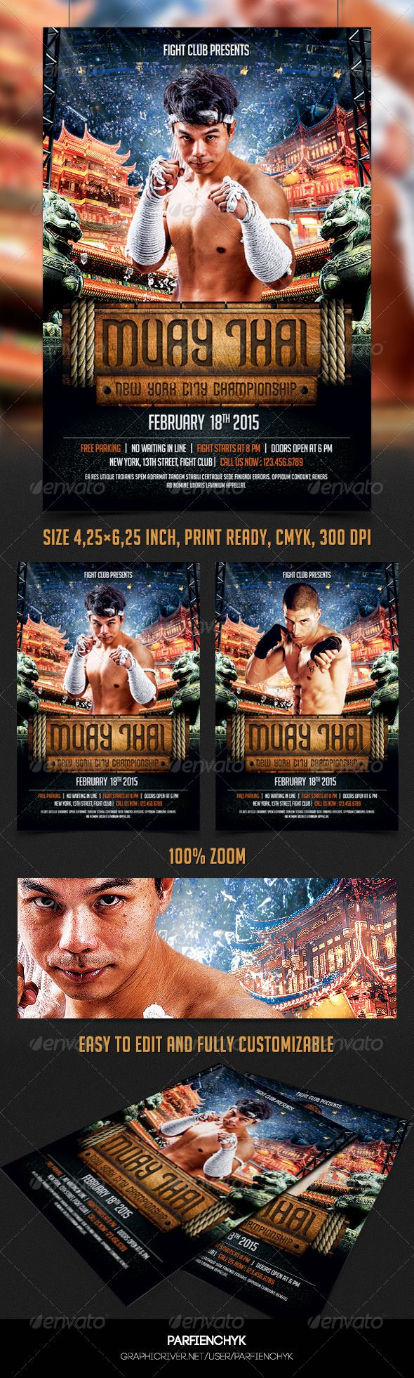 Muay Thai Flyer Template Boxing Match Cage Fight Fight show – Ufc Flyer Template