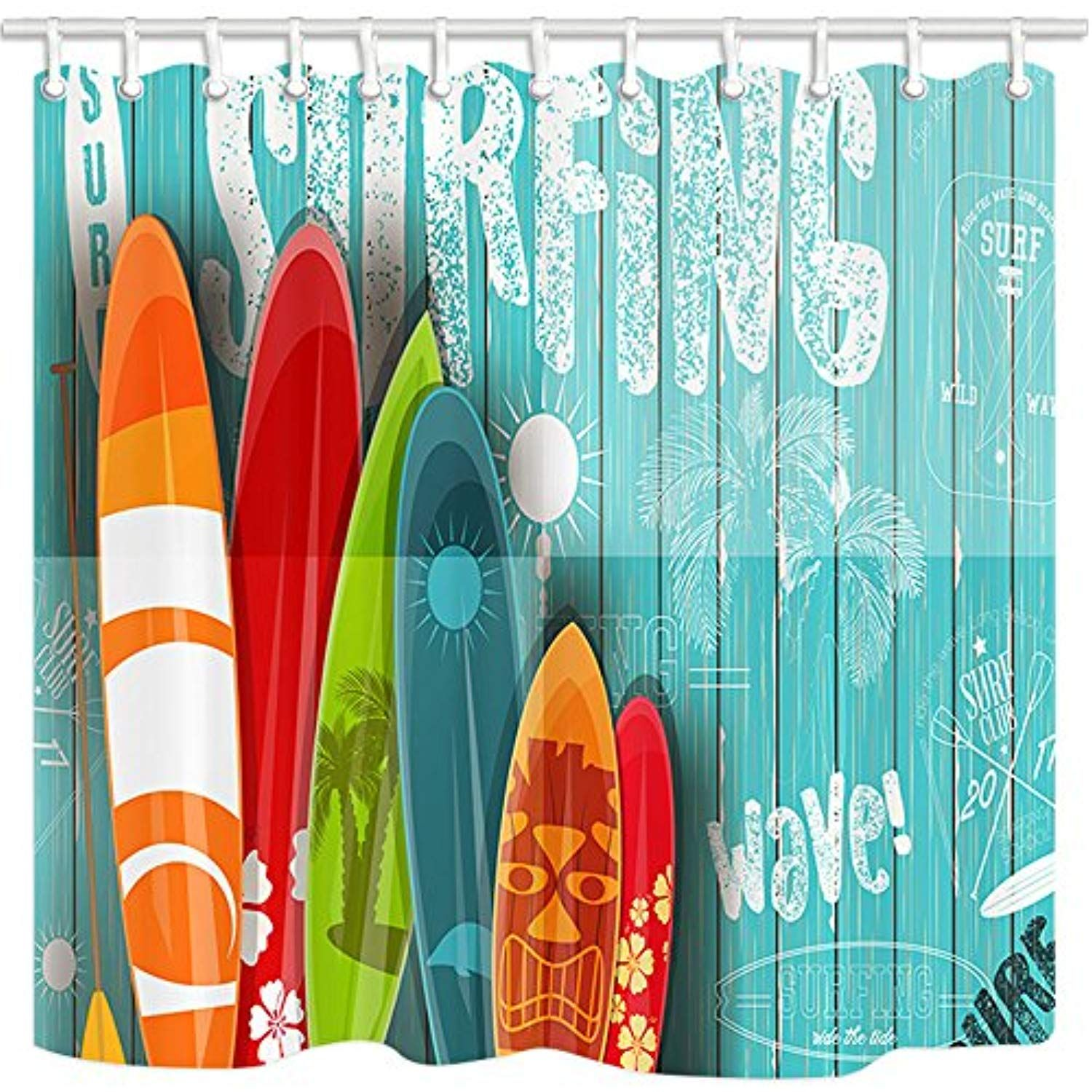 Nymb 3d Digital Printing Summer Surfing Shower Curtain Surfboard In Vintage Style On Turquoise Wooden Mildew Resistant Fabric Bathroom Decora Beach Backdrop Photography Backdrops Vintage Posters