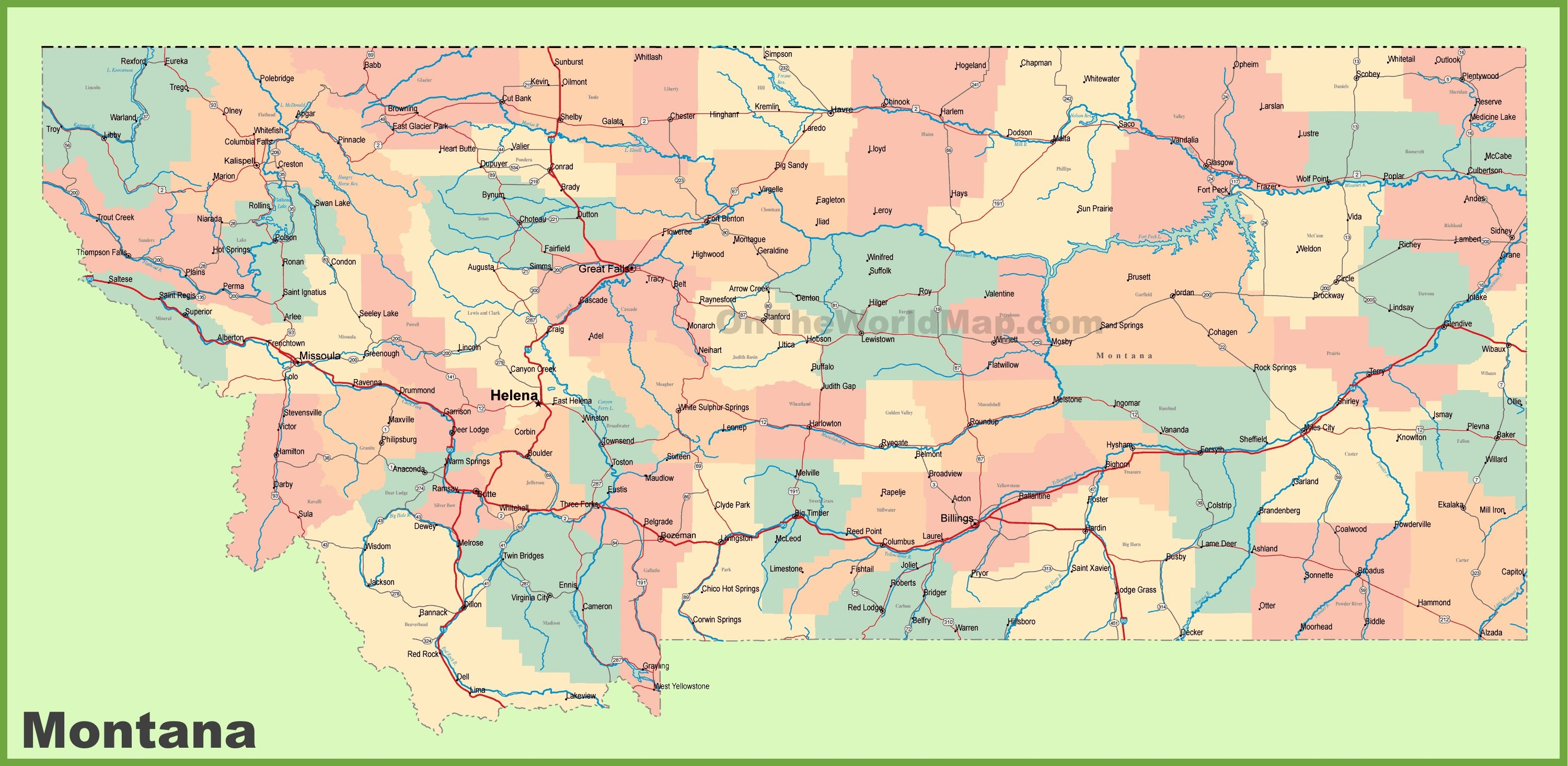 Road map of Montana with cities | Travel | Map, City, Montana