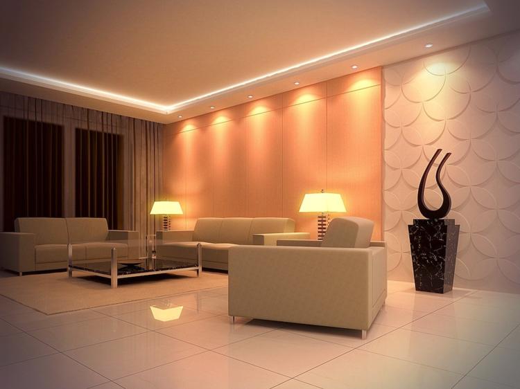 Beleuchtung Im Wohnzimmer Decke Wand Effekt Fliesen Weiss.