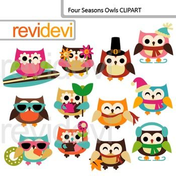 Clip Art Four Seasons Owls Holidays Owl Clipart Commercial Use Holiday Owl Clip Art Art Craft Store