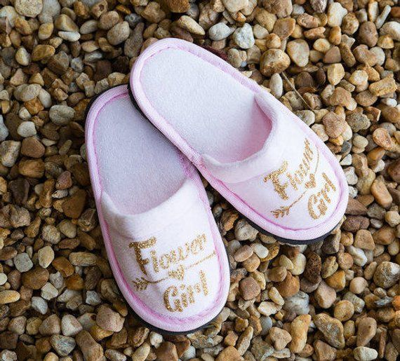 569ad4a1344ba Personalised Childrens Slippers, Flower Girl Slippers, Bridesmaid ...