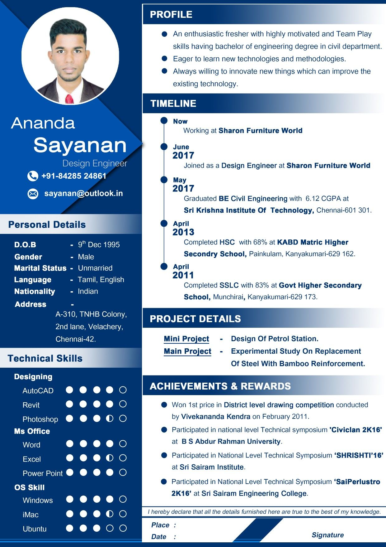 Professional Resume for civil engineer fresher, Awesome
