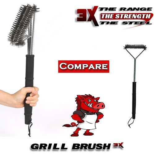 Triple The Strength The Combination Of Multiple Brushes Make A Denser And Stronger Cluster Of Bristles That Means Each Stroke Of T Grill Brush Grilling Brush