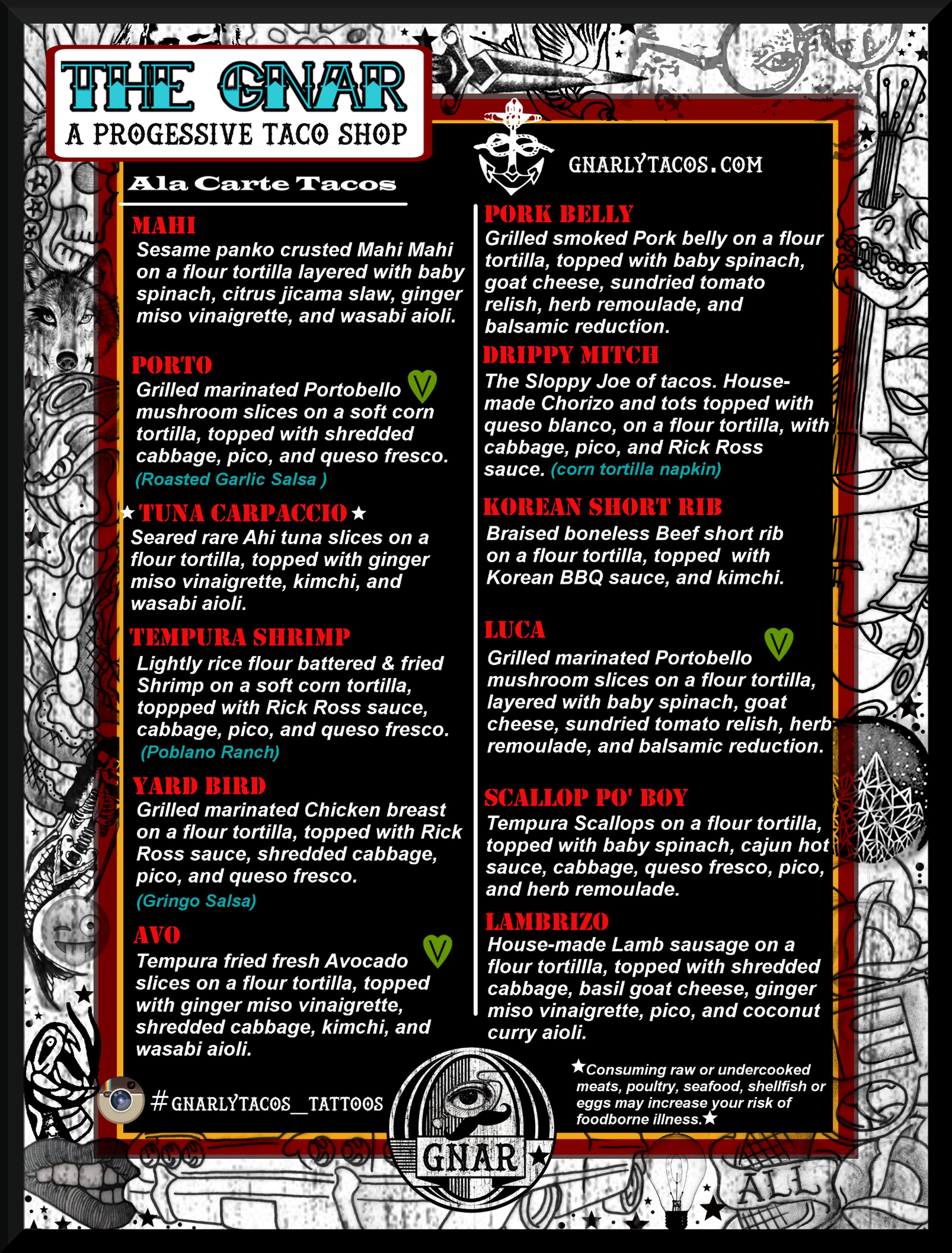 Taco Del Gnar Menu Periodic Table Tacos Board Design