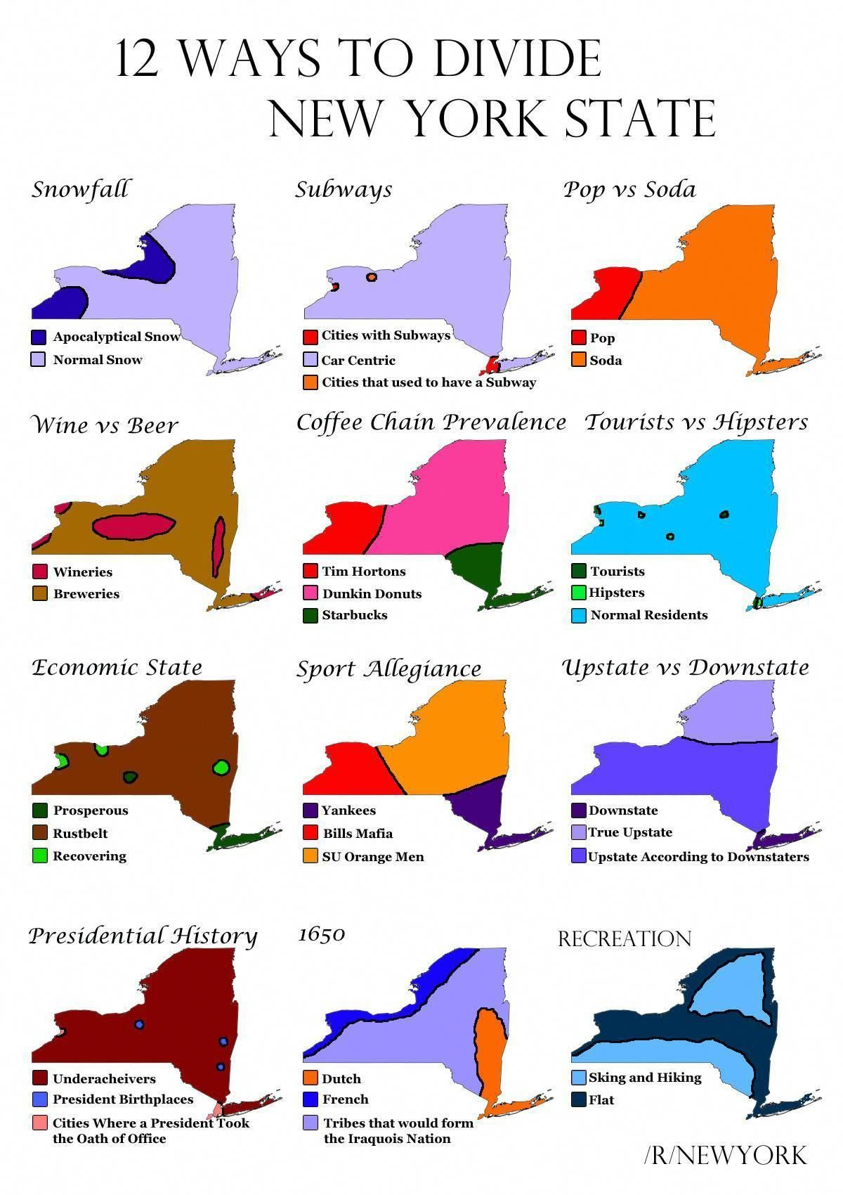 Map Of Upstate New York State.12 Ways To Divide New York State More Stereotype Maps
