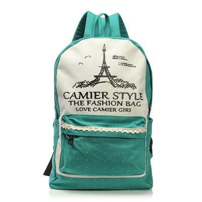 Plecak Damski Vintage Retro Plecaki Mietowy Print Canvas Backpack Women Girl Backpacks Bags