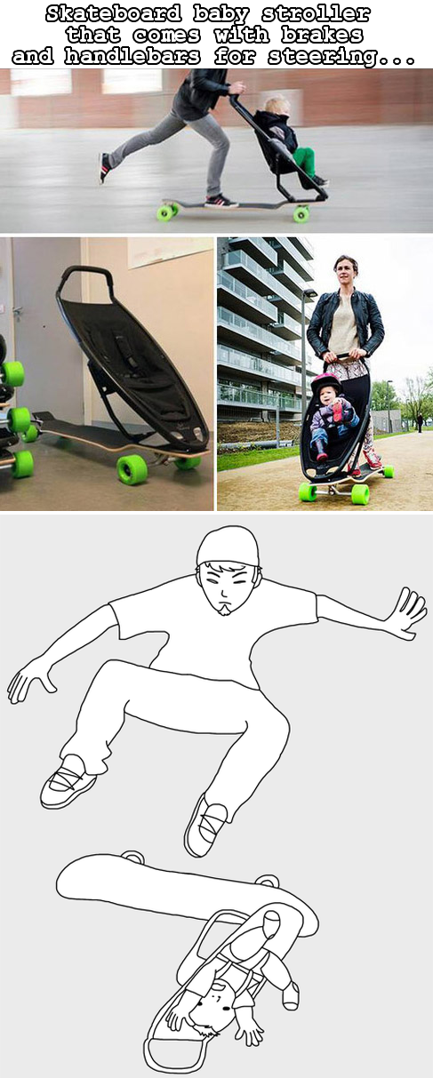skateboard baby stroller Funny pictures, Funny memes, Funny