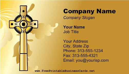 A gold cross is pictured on this printable business card for a gold cross is pictured on this printable business card for churches pastors and other christian or catholic persons or businesses free to download and reheart Choice Image