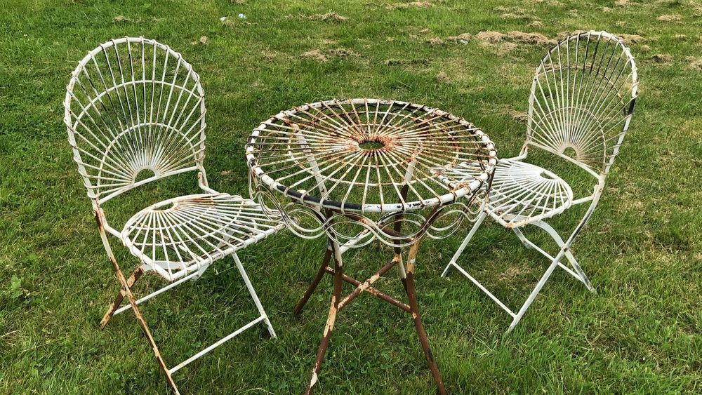 Rare Vntage Ornate French Garden Table And Chairs Wrought Iron